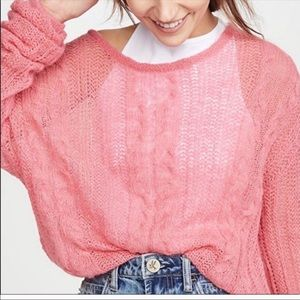 Free People Angel bubble gum loose knit sweater